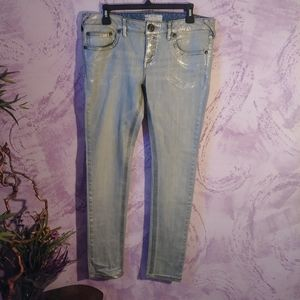 Free people Silver Metallic painted Jeans
